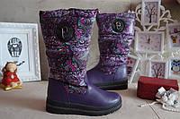 Сапоги дутики сноубутсы на девочку зимние фиолетовые, 32.33.34.35.37, фото 1