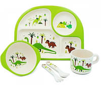 Бамбуковый набор детской посуды динозавр дино из 5 предметов