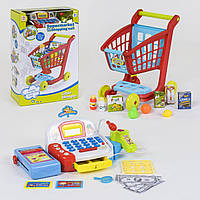 Игровой набор тележка с продуктами и кассовый аппарат  (звуковые и световые эффекты)