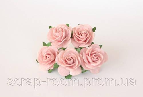 Роза бумажная светло-персиковая диаметр 2,5 см, роза нежный персик, бумажная роза персиковая, цена за 1 шт