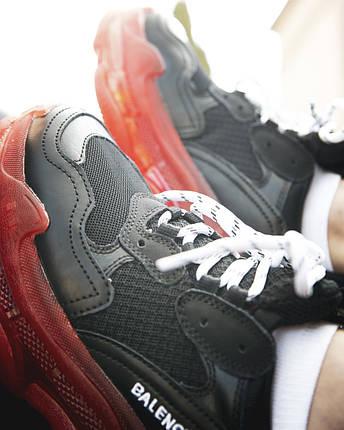 Кроссовки Balenciaga-Баленсиага Черные с Красным Женские/Мужские Текстиль, Размер 36-40, фото 2