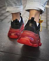 Кроссовки Balenciaga-Баленсиага Черные с Красным Женские/Мужские Текстиль, Размер 36-40, фото 3