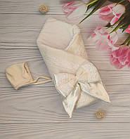 Зимний конверт на выписку, теплый конверт-одеяло на выписку, велюровый конверт на выписку