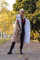 Куртка женская двусторонняя белая чёрная горчица