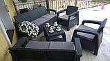 Набор садовой мебели Corfu Set Triple Max Graphite ( графит ) из искусственного ротанга ( Allibert by Keter ), фото 7