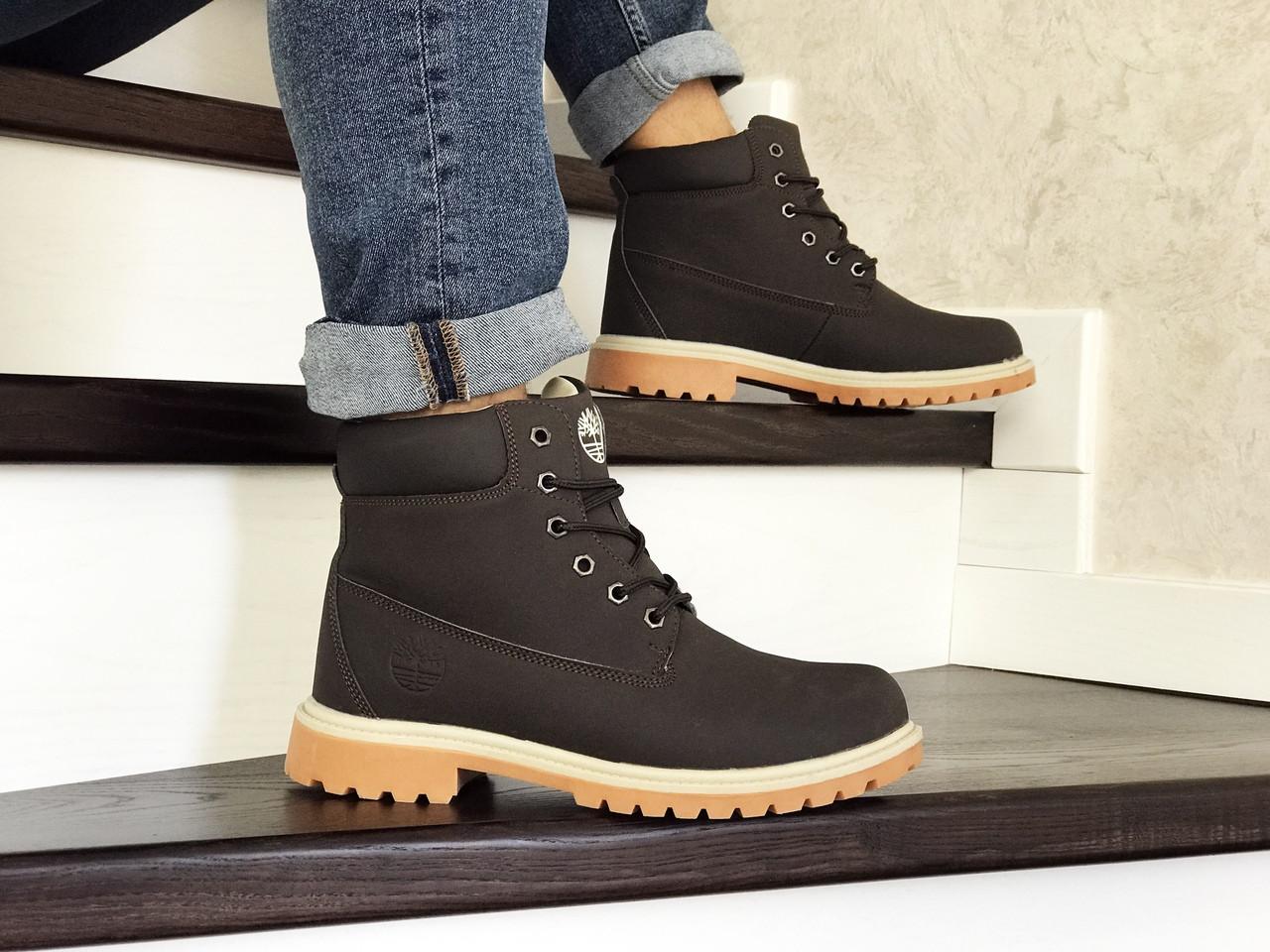 Мужские зимние ботинки Timberland коричневые,на меху