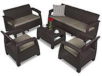 Набор садовой мебели Corfu Set Triple Max Brown ( коричневый ) из искусственного ротанга, фото 1