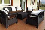 Набор садовой мебели Corfu Set Triple Max Brown ( коричневый ) из искусственного ротанга ( Allibert by Keter ), фото 2