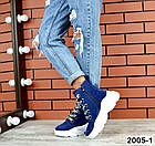 Женские демисезонные ботинки синего цвета из натуральной замши, фото 3