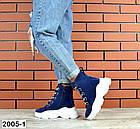 Женские демисезонные ботинки синего цвета из натуральной замши, фото 4