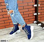 Женские демисезонные ботинки синего цвета из натуральной замши, фото 5
