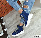 Женские демисезонные ботинки синего цвета из натуральной замши, фото 6