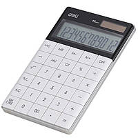 Калькулятор бухгалтерский Deli 1589 белый, 12 разряд, безшовные кнопки, 165*103*125 мм