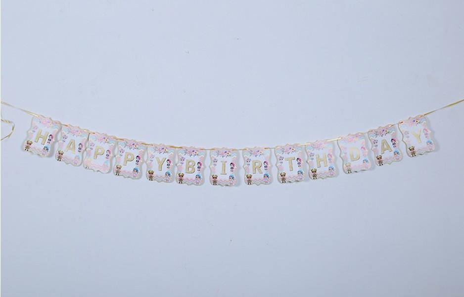 Бумажная гирлянда Happy Birthday Куклы Лол, 2 метра