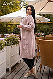 Женская вязанная кофта кардиган нить марса плотной вязки размер универсальный 44-48, 50-54, фото 3