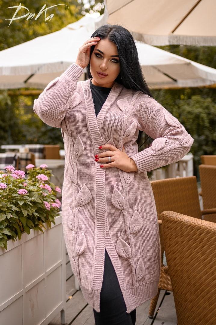 Женская вязанная кофта кардиган нить марса плотной вязки размер универсальный 44-48, 50-54
