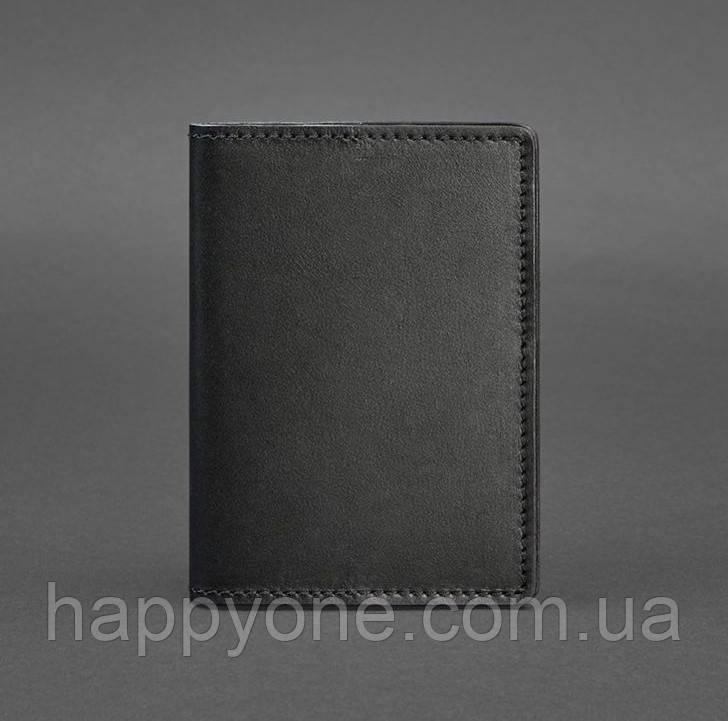 Обложка для паспорта из кожи 1.3 (черная) кожа Krast