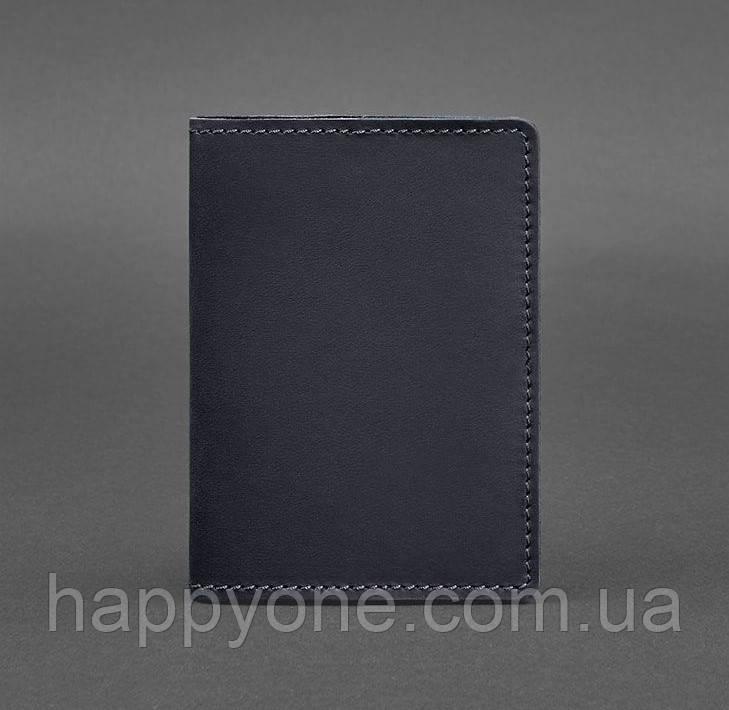 Обложка для паспорта из кожи 1.3 (темно-синяя) кожа Crazy Horse