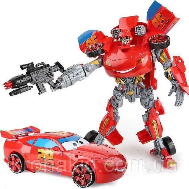 Большой Робот-трансформер МакКуин 45см со ЗВУКОМ и СВЕТОМ / Трансформер Тачки Маквин