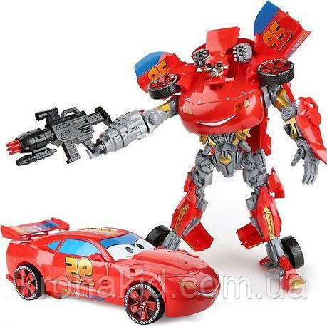 Большой Робот-трансформер МакКуин 45см со ЗВУКОМ и СВЕТОМ / Трансформер Тачки Маквин, фото 2
