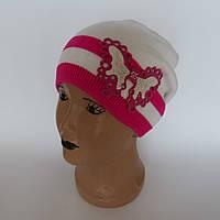 Детская вязаная шапка для девочки с бабочкой от  4-6 лет оптом