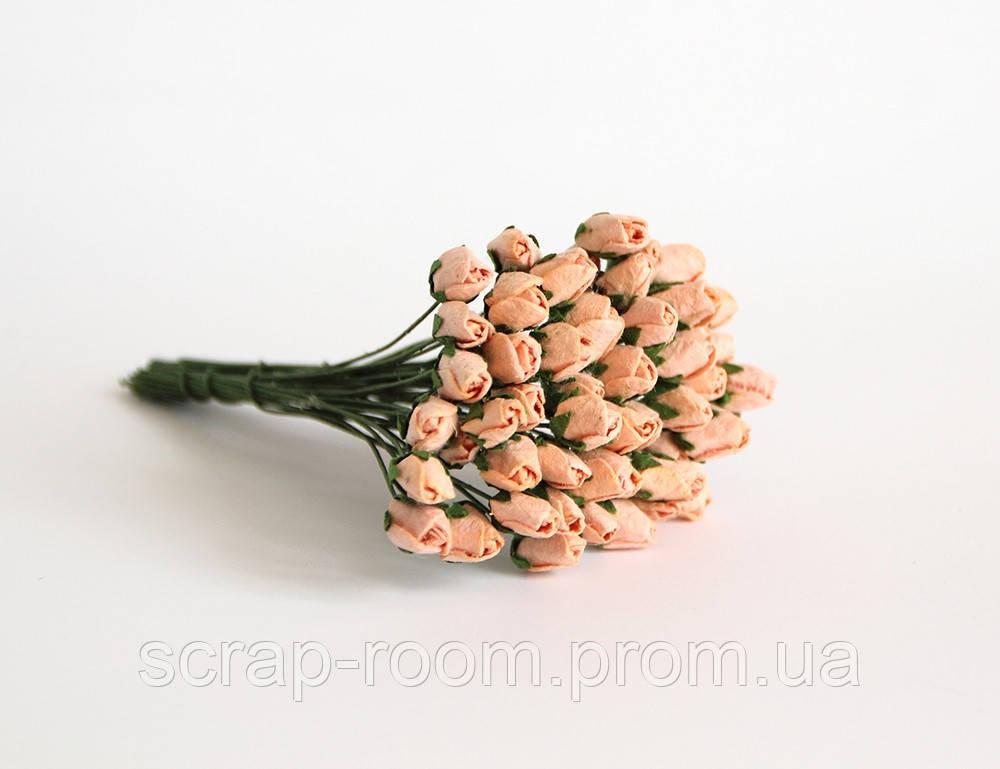 Роза бутон закрытый персиковые 1 см, бутоны розы закрытые, бутоны роз, бумажные цветы розы, цена за 1 шт
