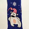 Махровые носки женские синие с мишкой 35-41 размер, фото 2