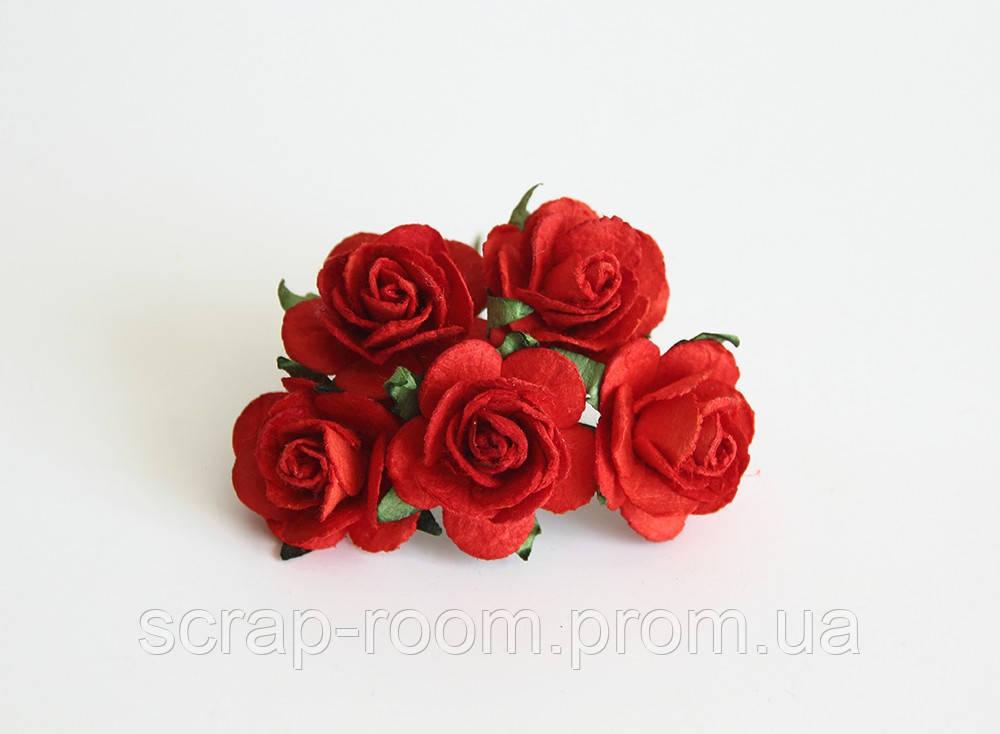 Роза бумажная красная диаметр 2,5 см, роза красная, бумажная роза красная Таиланд, цена за 1 шт