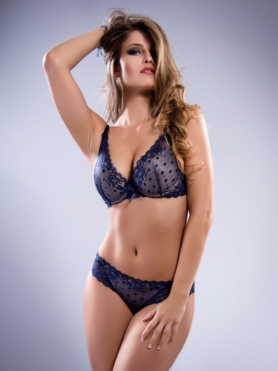 Комплект женского нижнего белья Acousma A6407D-1-P6407-1H, цвет Синий-Пудра, размер 75D-M