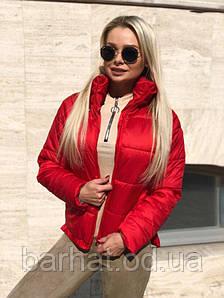 Стильная куртка на осень красного цвета