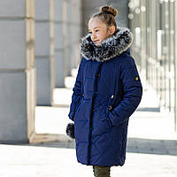 """Зимняя куртка для девочки """"Жизель"""" 122-146 см (синий)"""