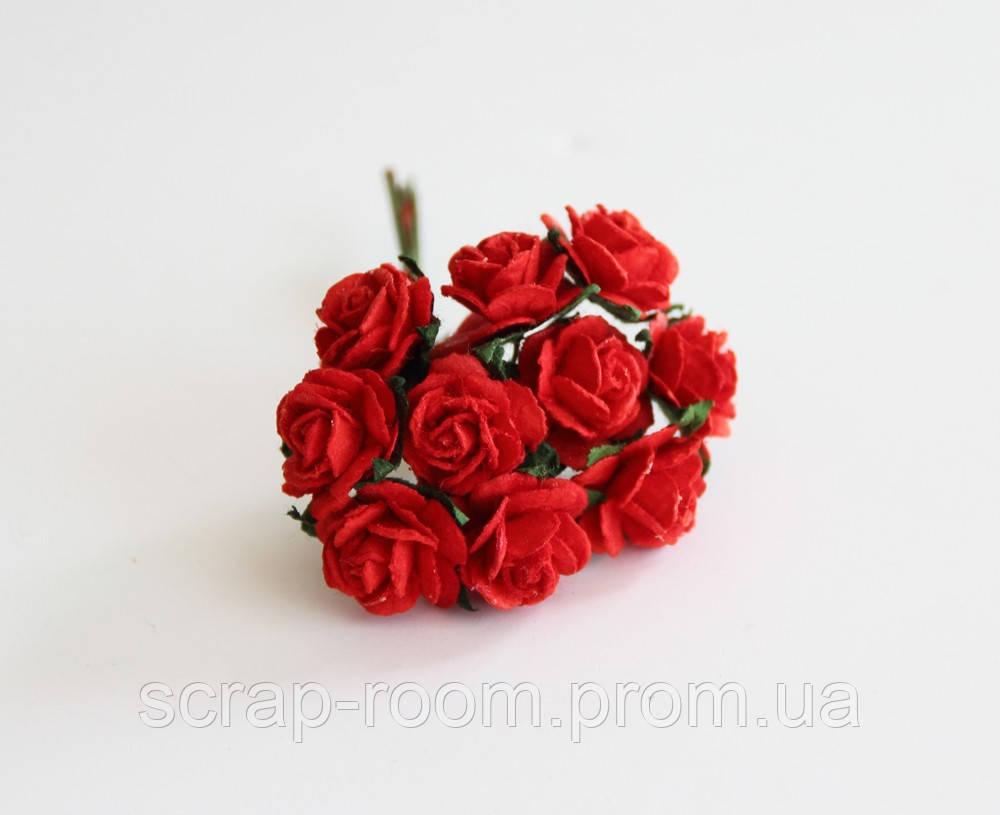Роза мини красная диаметр 1,5 см, роза красная, бумажная роза красная 1,5 см, бумажная, цена за 1 шт