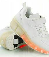 Белые светящиеся кроссовки ролики на колесиках хилисы роликовые кеды р. 31