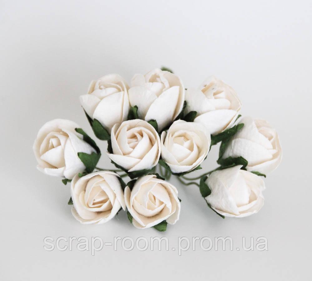 Роза бутон открытый белый диаметр 2 см, роза белая, бумажная роза бутон белый, бумажная, цена за 1 шт