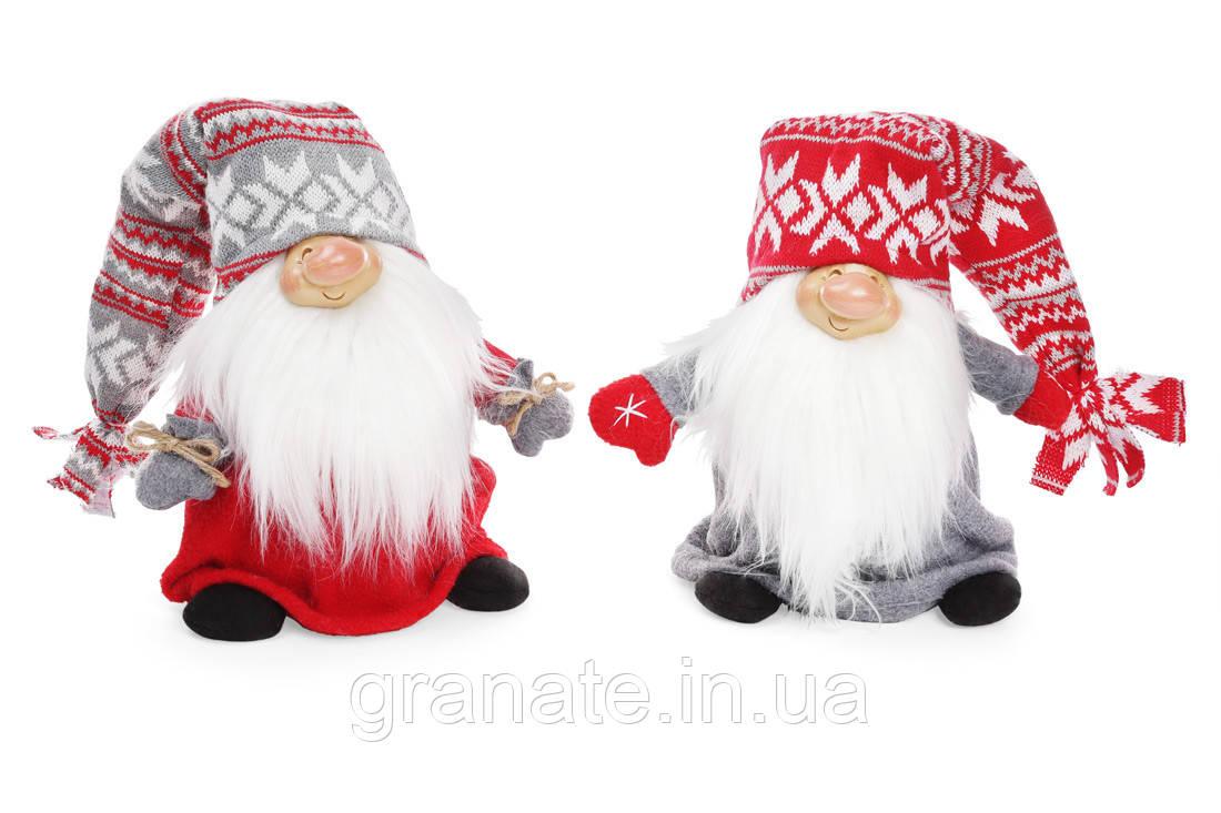 Мягкая новогодняя игрушка Санта 25см, 2 шт