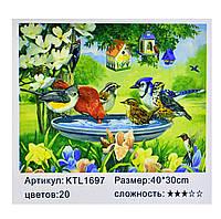 Картина по номерам Птички пьют воду с мисочки 20 цветов полная