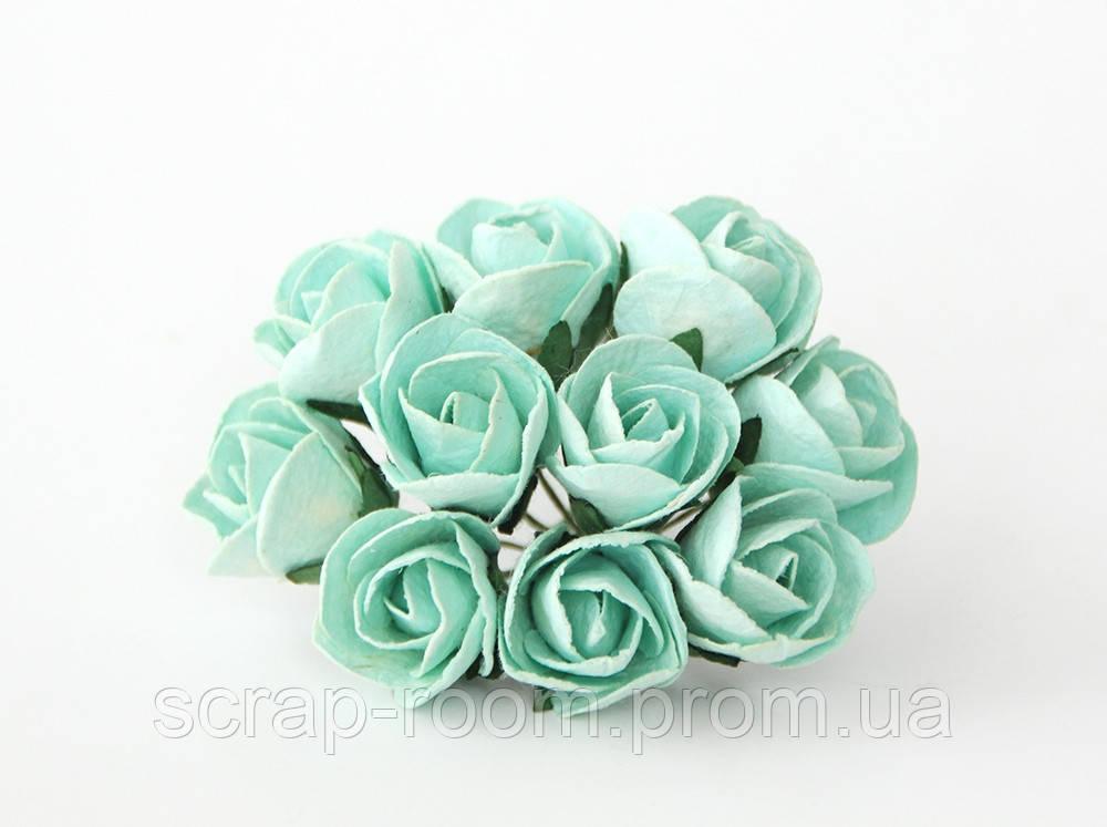 Роза бутон открытый мятный диаметр 2 см, роза мятная, бумажная роза бутон, бумажная роза, цена за 1 шт