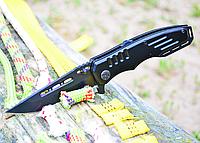 Нож складной, с рукояткой из авиационного алюминия,окрашен в черный мат,с однопозиционной клипсой, полуавтомат, фото 1