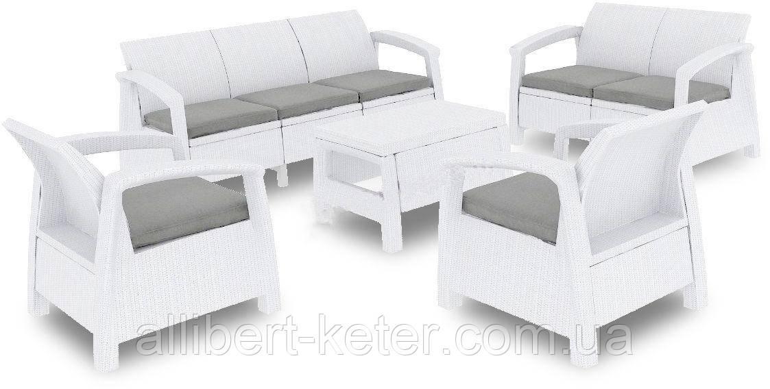 Набор садовой мебели Corfu Set Triple Max White ( белый ) из искусственного ротанга ( Allibert by Keter )