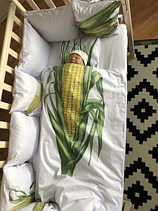 """Набір у дитяче ліжечко бортики та постільна білизна """"Капустяні діти"""" кукурудза"""