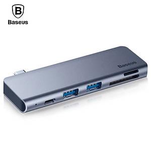 Многопортовый хаб Baseus Harmonica 5-in-1 HUB Adapter CAHUB-K0G (Серый, Type-C to USB 3.0 x 2/SD/TF/Type-C)