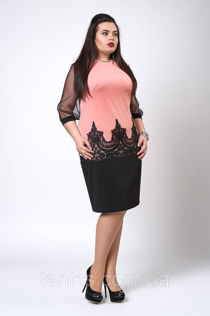 Жіноче плаття з креп-дайвінгу, ошатне, р-р 48,50,52,54,56 ,з рукавом сіточка, (558) сукня жіноча