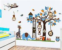 Интерьерная наклейка на стену в детскую - Дружные Зверята