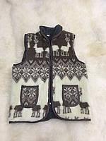 Безрукавка женская из овечьей шерсти двойная на молнии с воротником