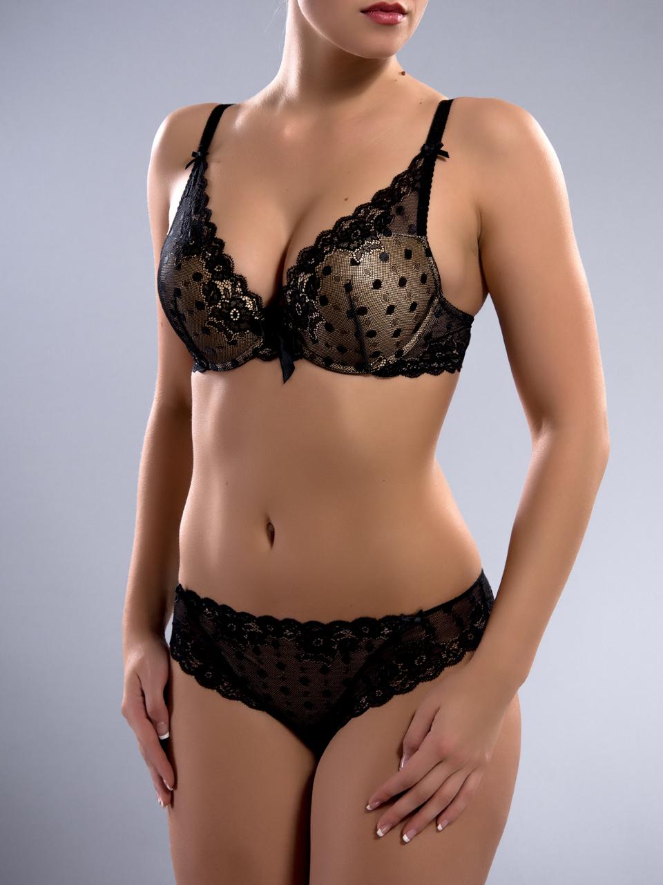 Комплект женского нижнего белья Acousma A6407BC-P6407H, цвет Черно-Бежевый, размер 85B-XL