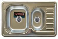 Врезная кухонная мойка Platinum 78*50 (мм) с фруктовницей в покрытии decor (структурная), с толщиной 0,8 (мм), фото 1