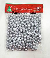 Новогодний декор-серебряные шарики 1см из пенопласта, фото 1