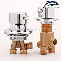 Комплект кранів для гідромасажної ванни, джакузі J-7046 з перемикачем на 3 режиму роботи., фото 1
