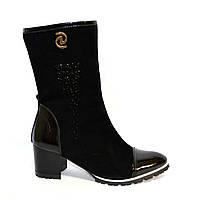Стильные зимние женские ботинки на невысоком устойчивом каблуке, натуральная лаковая кожа и замш