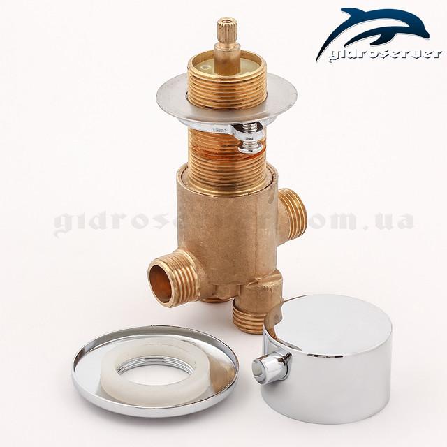 Кран перемикач для гідромасажної ванни, джакузі J-7043 відповідає за перенаправлення змішаного потоку води на 3 діючих функціоналу пристрою.